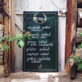 Menu board design for a Italian / Ranch themed wedding in the Colorado mountains