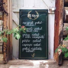 Menu board design for a Italian / Ranch themed wedding in the Colorado mountains