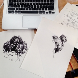 Ink face and hair sketches