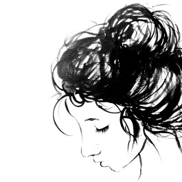 Ink drawing of girl with messy bun.