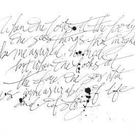 Modern calligraphy piece on body image.