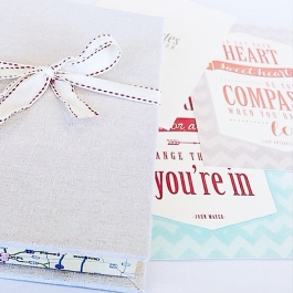 A series of three music-inspired postcards, designed and letterpresses. Packaged in a handmade linen box with map accents.