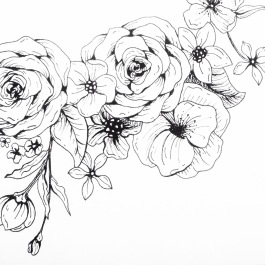"""Close up of floral drawings for """"Hope Sweet Hope"""" screen print."""
