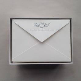 Letterpressed monogram on Crane's Lettra envelopes for custom wedding invitation suite