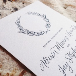 Letterpress wedding invitation detail view